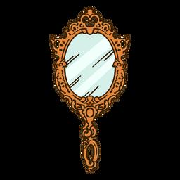 Espejo de mano redondo adornado ilustración
