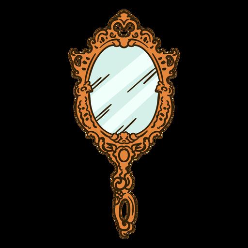 Round handheld mirror ornate illustration