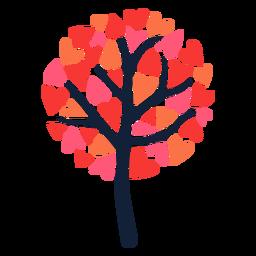 Corazón de árbol redondo hojas planas