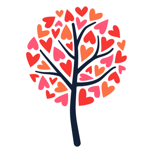 Round tree heart leaves flat Transparent PNG
