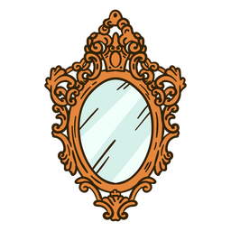 Round wall mirror ornate illustration