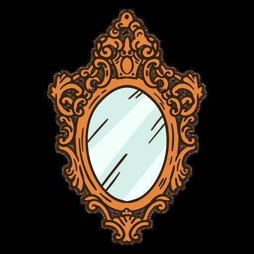 Ilustração ornamentada de espelho de parede redondo