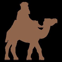 Silhueta de homem cavalgando camelo