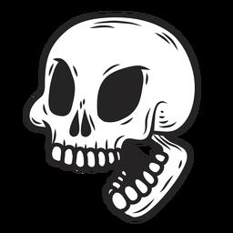 Ilustração da boca do crânio aberta