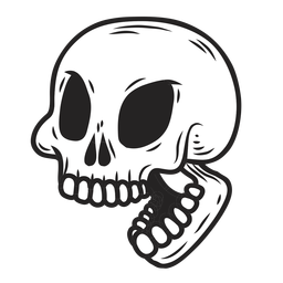 Ilustración de boca de cráneo abierta