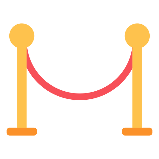 Stanchion rope stands flat icon