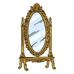 Stand mirror ornate illustration
