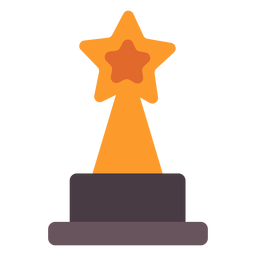 Star award trophy flat icon