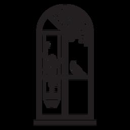 Escena de planta de pájaro de ventana superior