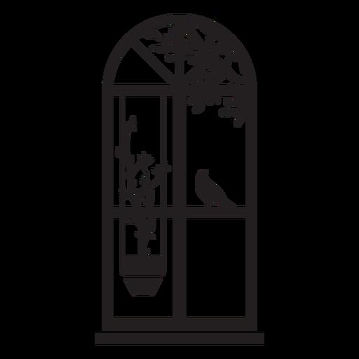 Top window bird plant scene
