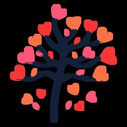 Árbol cayendo corazón deja plano