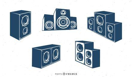 Diferentes vetores de sistema de rádio e música