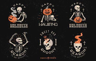 Conjunto de crachá assustador de halloween