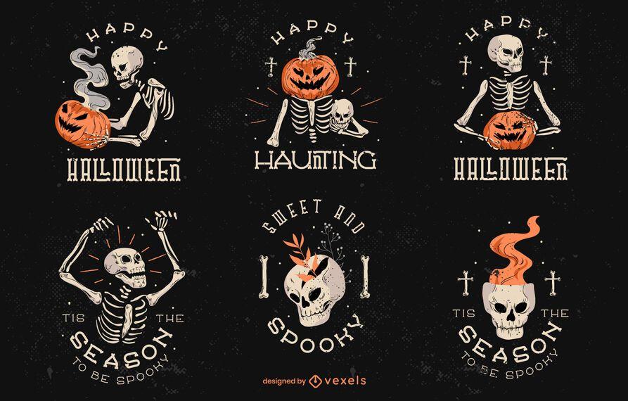 Conjunto de placa de halloween espeluznante