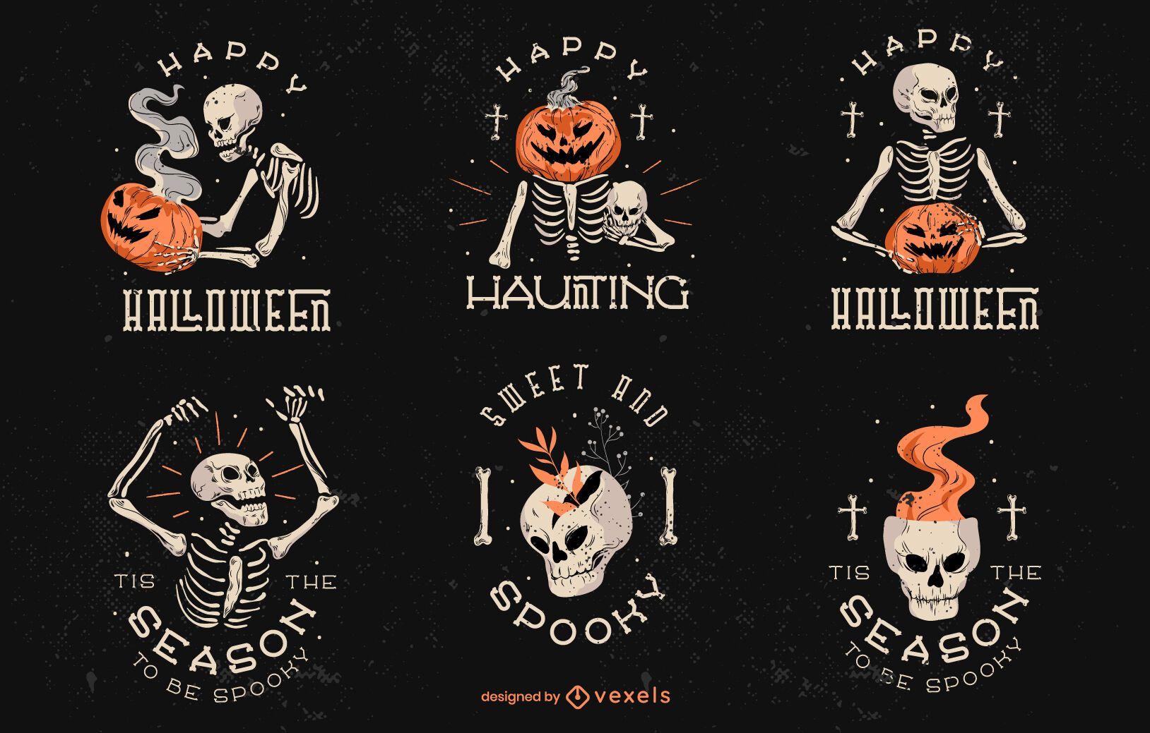 Creepy halloween badge set