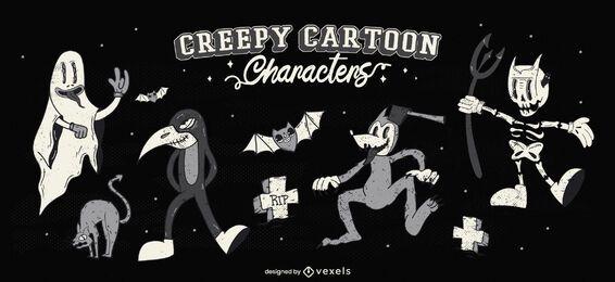 Conjunto de personajes de dibujos animados de halloween espeluznante