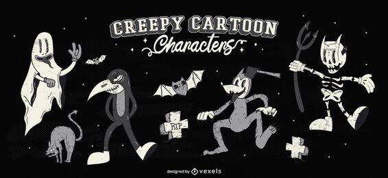 Creepy halloween cartoon character set