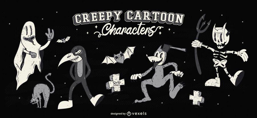 Gruseliger Halloween-Cartoon-Zeichensatz