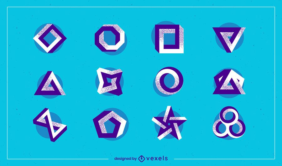 Abstract shapes logo set