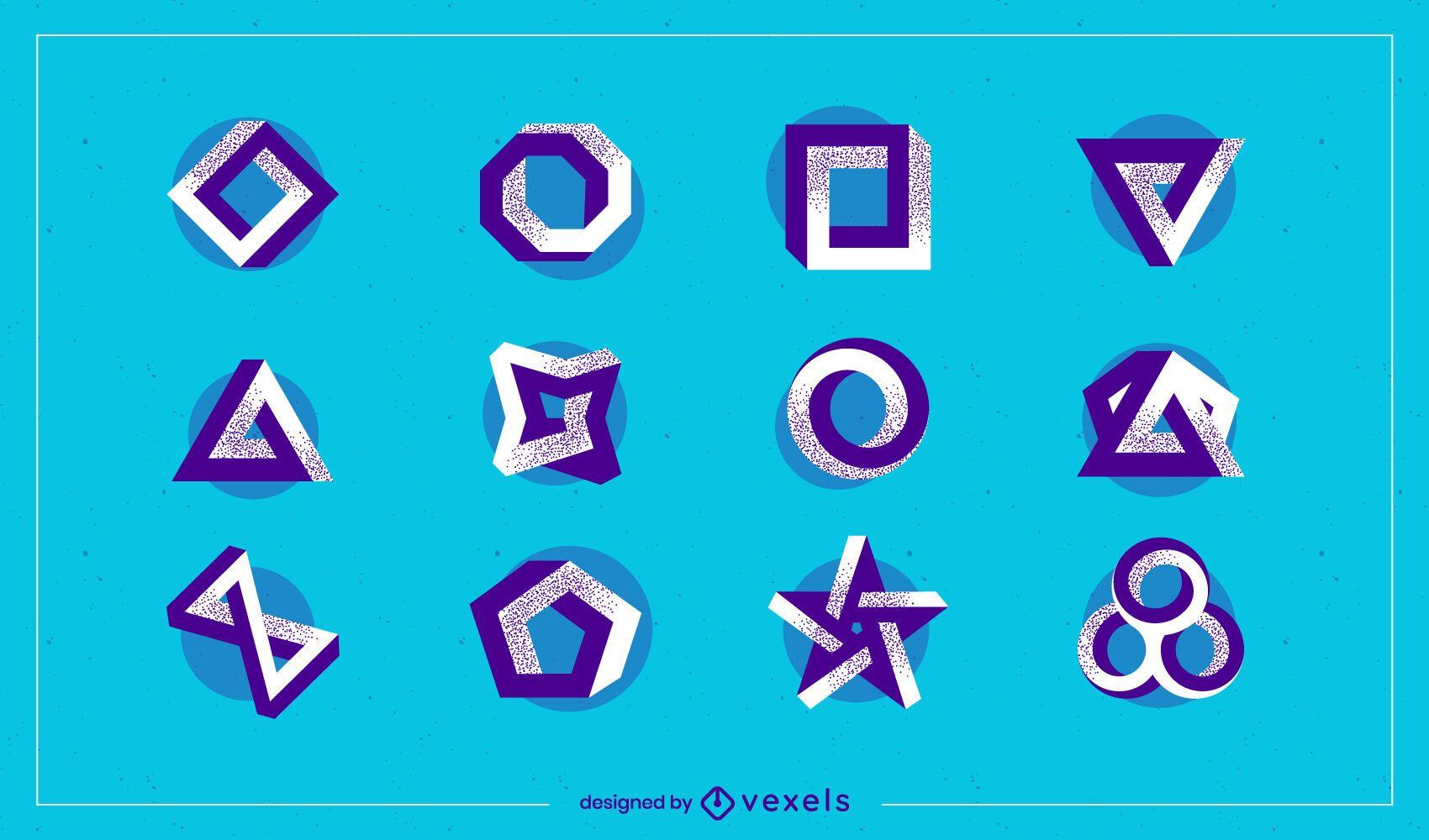 Conjunto de logotipo de formas abstractas