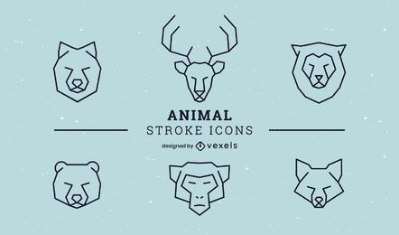 Animal stroke icon set