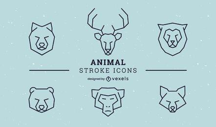 Conjunto de iconos de trazo animal