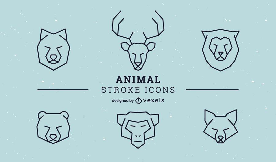 Animal stroke icon set