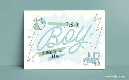 Baby Gender Boy Reveal Card