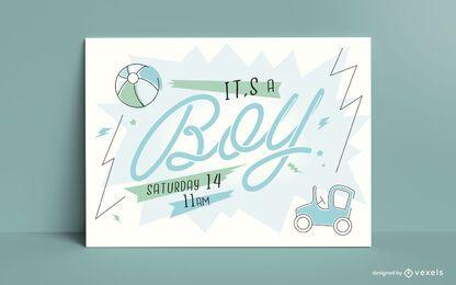 Cartão de revelação do gênero do bebê e menino