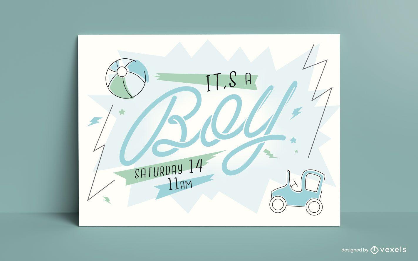 Baby Gender Boy Reveal Card