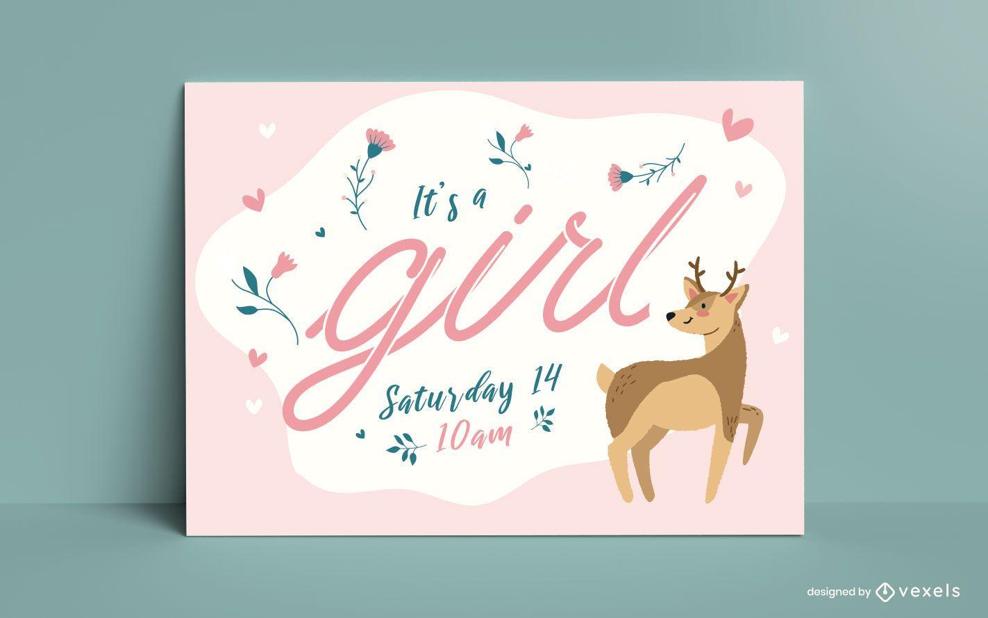 Plantilla de tarjeta de revelación de género para bebé niña
