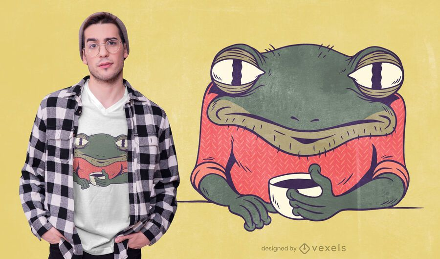 Tired frog coffee t-shirt design