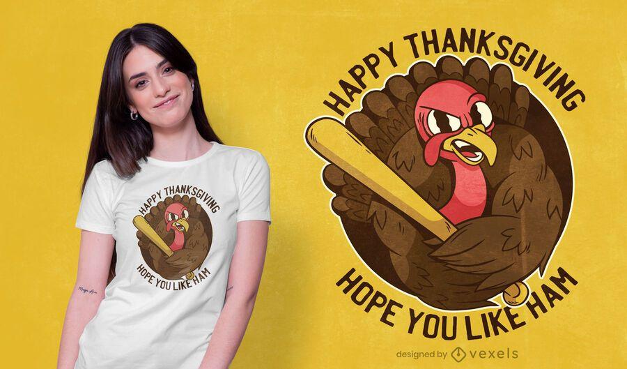 Diseño de camiseta de pavo de acción de gracias