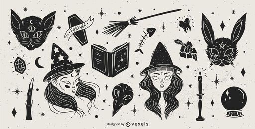 Paquete de diseño de elementos de Halloween negro