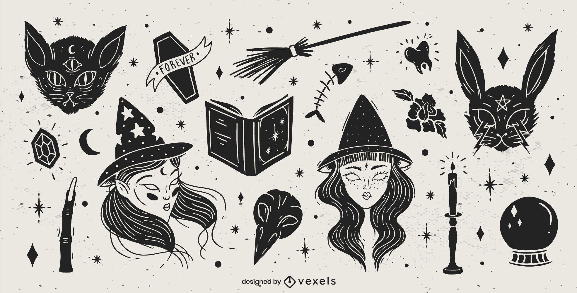 Pacote de design de elementos de Halloween preto
