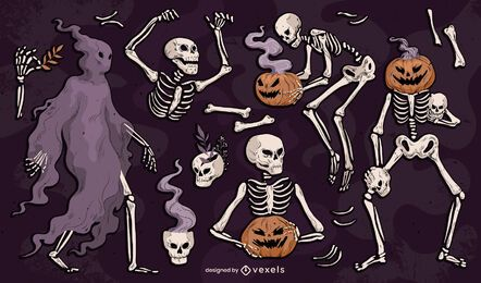Paquete ilustrado de esqueletos de Halloween