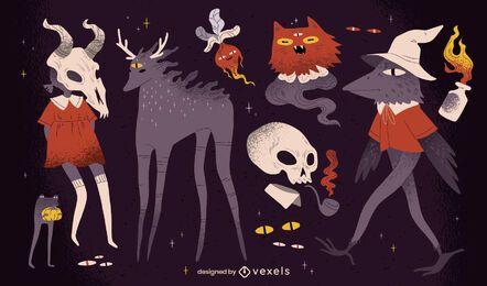 Pacote de criaturas assustadoras de Halloween