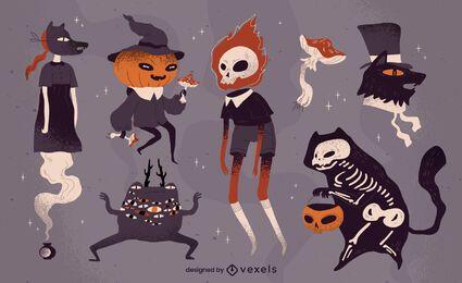 Conjunto de caracteres espeluznantes de halloween