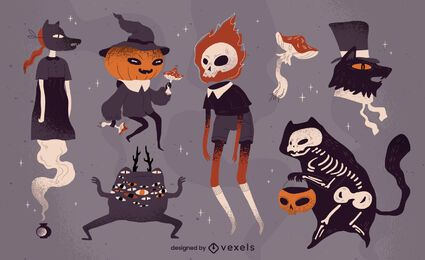 Creepy halloween character set