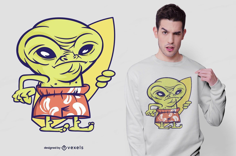 Alien surfer t-shirt design