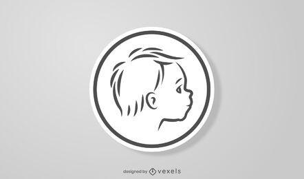 Diseño de etiqueta redonda de cara de bebé
