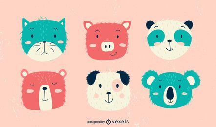 Lindo paquete de diseño de niños animales