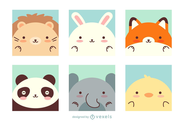 Paquete de diseño de animales kawaii