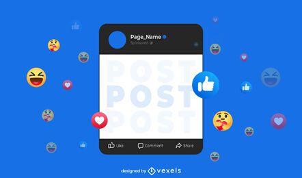 Interface de postagem do Facebook escura