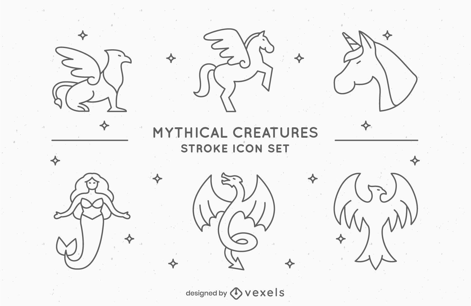 Conjunto de diseño de trazo de criaturas míticas