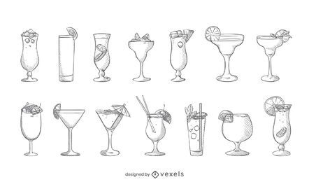 Cocktail hand drawn set