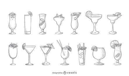 Cocktail handgezeichnetes Set