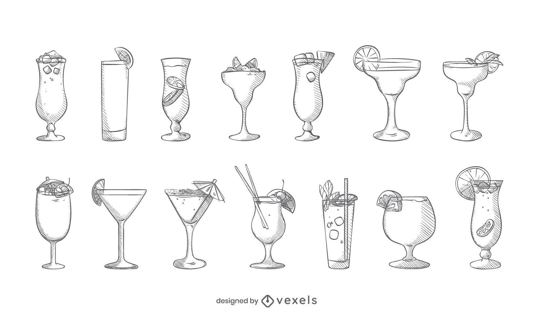 Cocktail hand drawn set