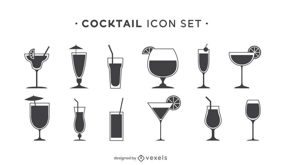 Conjunto de iconos de cóctel