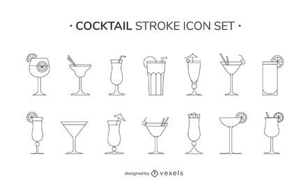 Cocktail stroke icon set